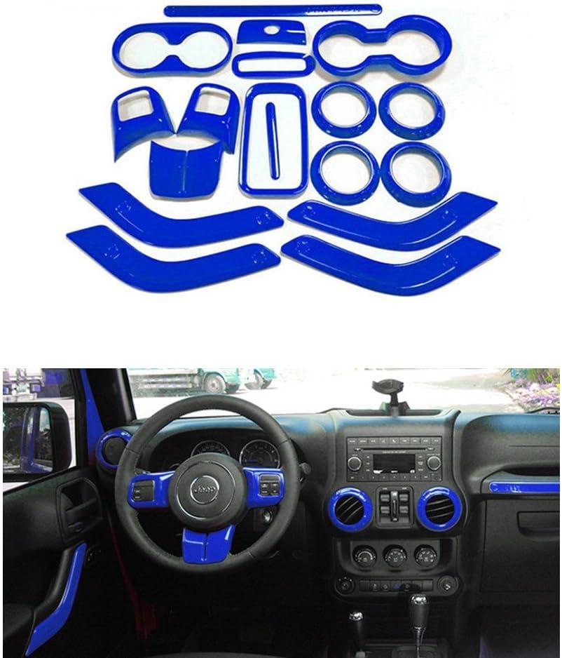 Opall 18PCS Full Set Interior Decoration Trim Kit Steering Wheel & Center Console Air Outlet Trim, Door Handle Cover Inner for Jeep Wrangler 2011-2017 2 Door &4 Door (Blue)