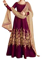 Ethnic Yard Maroon Silk Women's Semi-Stitched Gown With Dupatta (Ey2_Er-10621_Free Size)