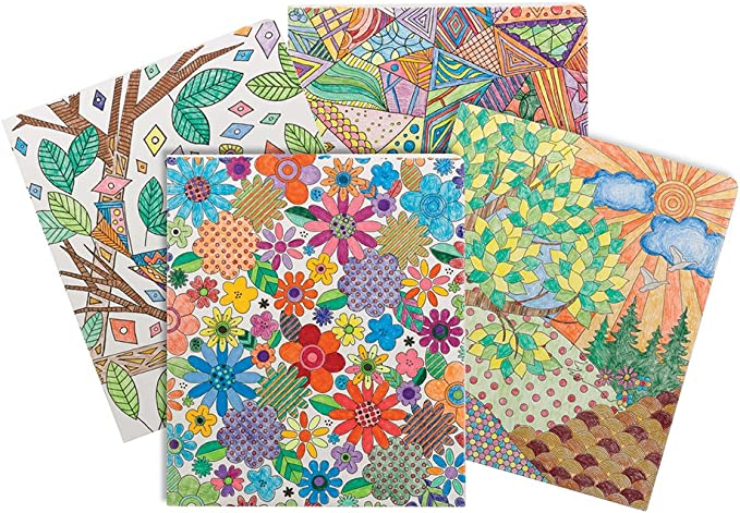 Smead Coloring Two-Pocket Folder 4 per pack 87911 Whimsical Designs Letter Size