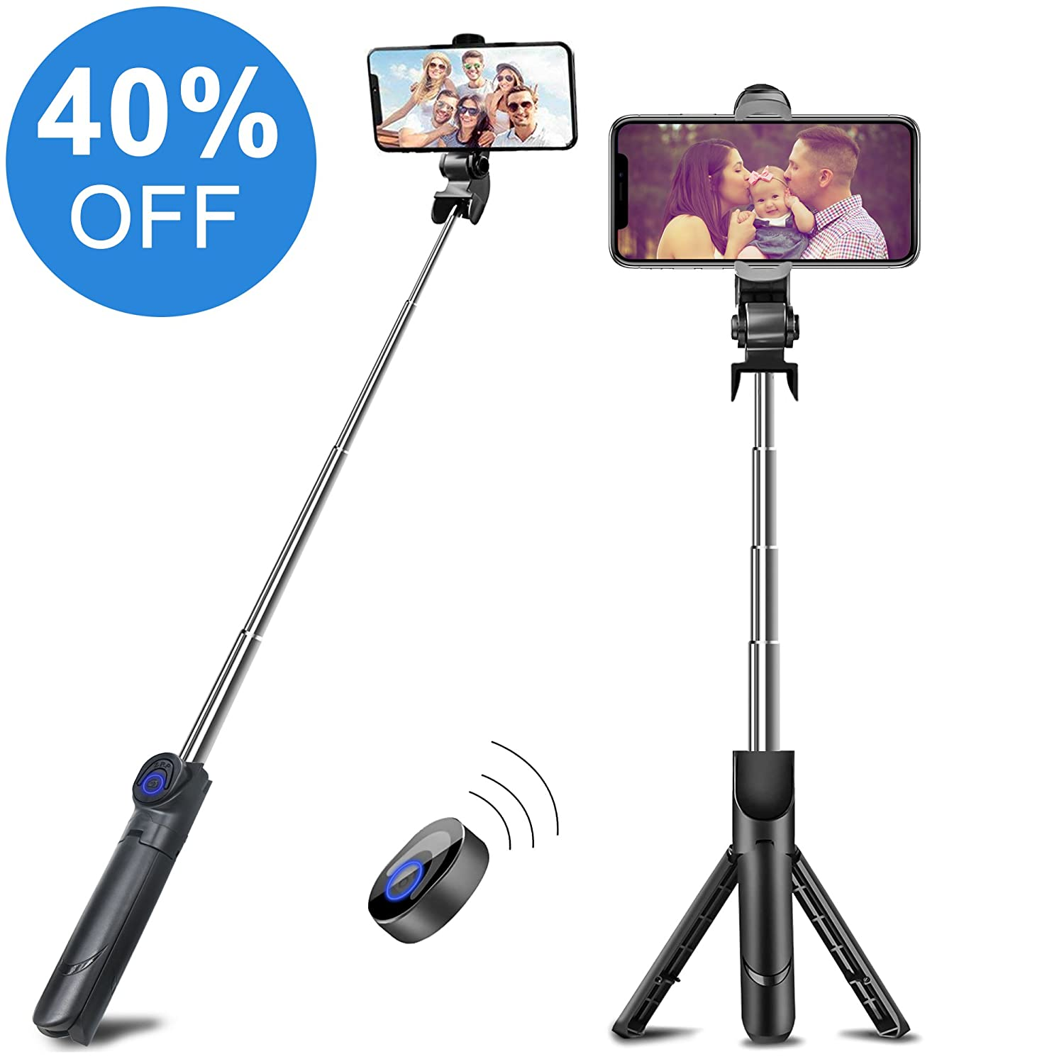 Selfie Stick, VIPFAN Extendable Bluetooth Selfie Stick Portable Monopod Built-in Bluetooth Wireless Shutter Compatible iPhone X,8,7,6s,6 Plus,5/5c 5s SE, Samsung, LG Other Smartphones(Black)