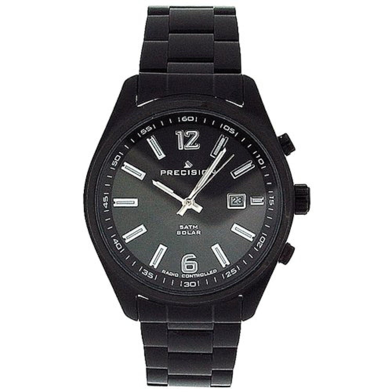 PRECISION PREW1107 Funkgesteuerte - solarbetriebene Herrenarmbanduhr mit schwarz Überzogenem Armband