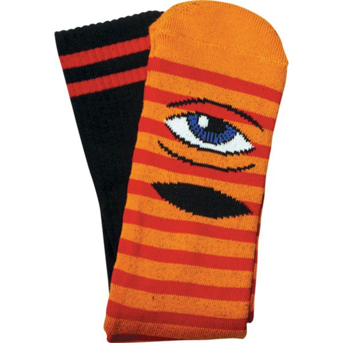 Toy Machine Sect Eye Stripe Crew Socks Orange Red Black 1 Pair Skate Socks
