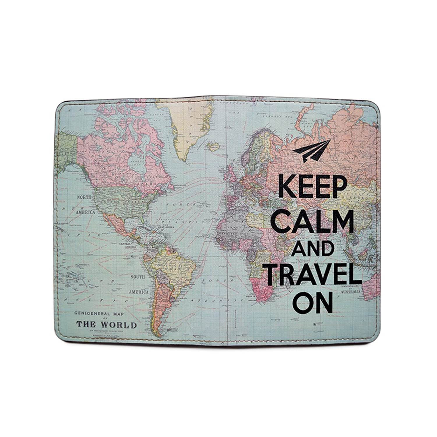 Amazon novelty leather passport cover vintage passport amazon novelty leather passport cover vintage passport wallet travel accessory gift keep calm and travel world map cover travel wallet for gumiabroncs Image collections