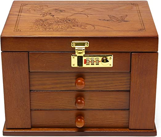 Amazon Com Changsuo Jewelry Box Organizer With Combination Lock
