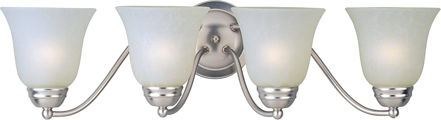 Maxim 85134ICSN Basix EE 4-Light Bath Vanity, Satin Nickel Finish, Ice Glass, GU24 Fluorescent Fluorescent Bulb , 18W Max., Wet Safety Rating, 2700K Color Temp, Glass Shade Material, 1355 Rated Lumens