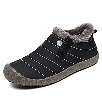 b99ce9f804b23 MOOKEY Unisex Winter Snow Boots Thick Warm Fur Lining Waterproof Cotton Non- Slip high Boots Flat Shoes Casual Outdoor Lightweight Boots Hiking Walking  Shoes ...