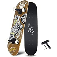 Sefulim Skull Skateboard Complete 31x8 inches Double Kick Trick Skateboards Cruiser Penny Kids Beginners Longboard with Maple Deck Adult Boys Also Girls Skateboard