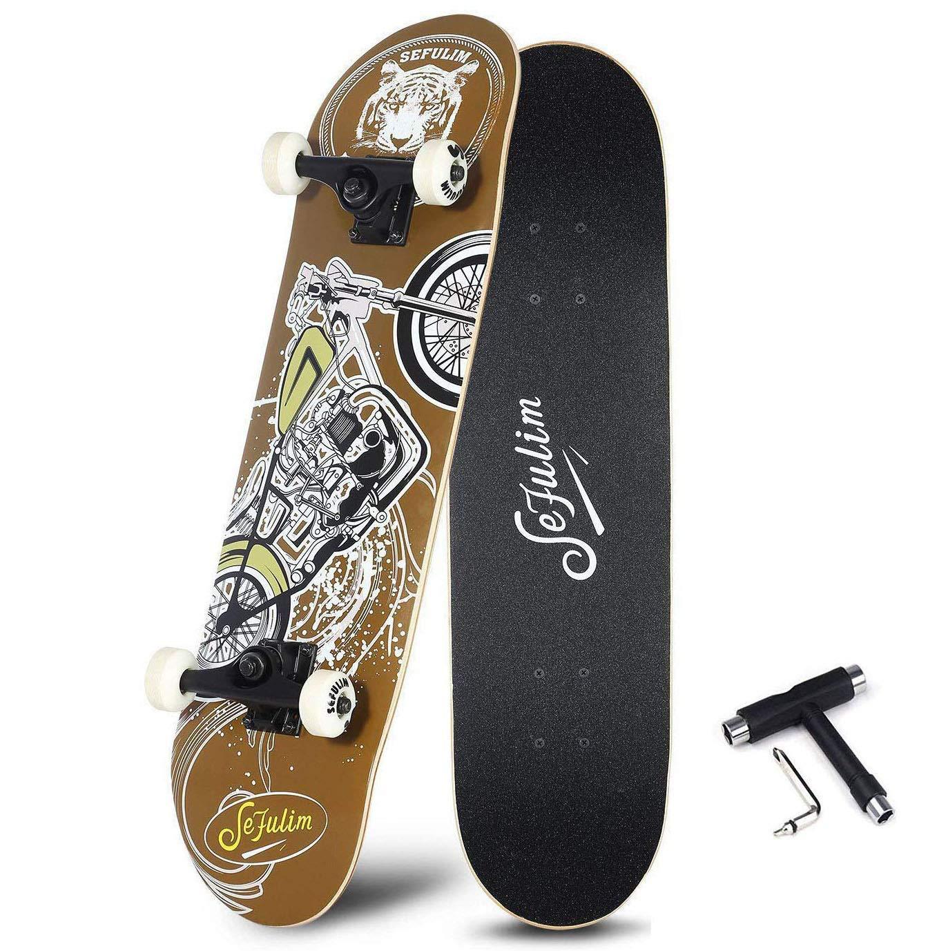 Sefulim 31''x8'' Complete Skull Skateboards Outdoor Street Concave Skateboard Gifts Double Kick Penny Skateboard for Kids Boys Beginners Girls (Motorcycle Pattern)
