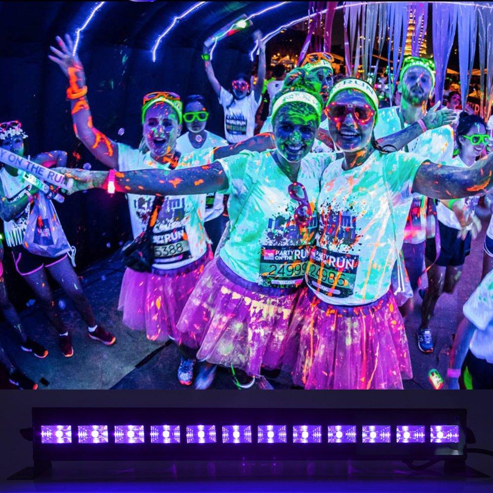 /luz de escena para exposici/ón de pintura corporal bodas y cumplea/ños apertura de las vacaciones UV luz Bar mictuning 36/W 12/LEDs UV Proyector de mando a distancia/