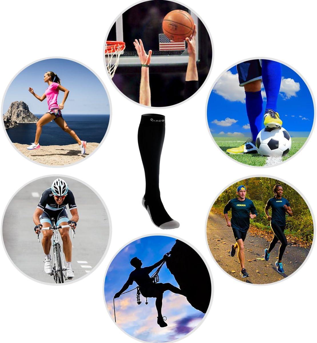 Ideali per Ciclismo Potenziano Circolazione Recupero e Sport Running e in Gravidanza 20-30 mmHg Gambaletti Contenitivi Uomo Donna Viaggi in Aereo RYACO Calze a Compressione Graduata