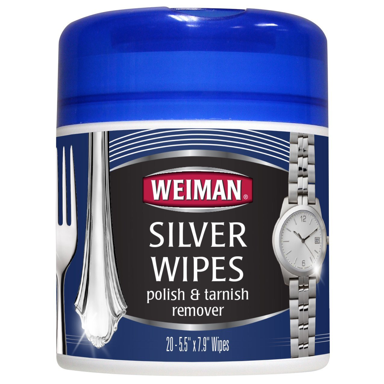 Weiman Silver Polish & Tarnish Remover Wipes -  Use on Silver, Jewelry,  Silver plater, Antique silver, Gold, Brass, Copper and Aluminum - 20 Count