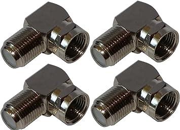 AERZETIX: 4 x Adaptadores Conectores Enchufe F Angulo 90° Macho-Hembra para Cable coaxial TV satelite Antena