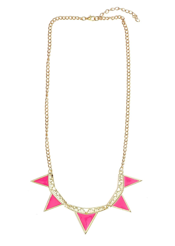Amazon.com: Magic Metal Triangle Collar Necklace Neon Pink Geometric  Stations NH22 Statement Vintage Choker Bib Fashion Jewelry: Chain  Necklaces: Jewelry