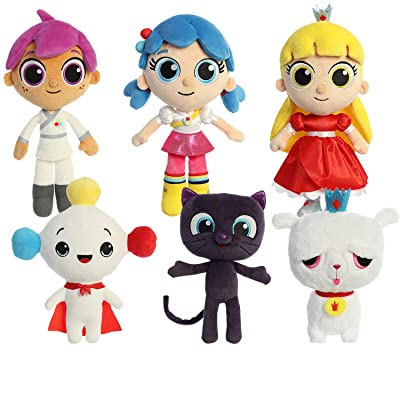 Aurora True and The Rainbow Kingdom Main Character Complete Plushie Set: True & Bartleby, Grizelda & Frookie, Zee, Rainbow King, and Drawstring Bag: Toys & Games
