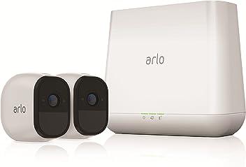 Arlo  VMS4230-100EUS Pro - Sistema de seguridad y vigilancia de 2 cámaras sin cables con estación base y sirena (recargable, interior/exterior, visión nocturna, audio bidireccional, visión 130º)