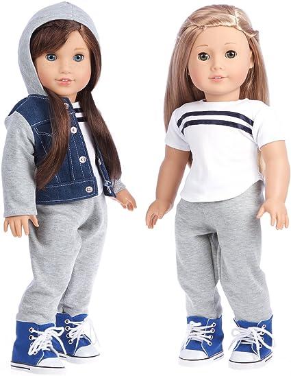 """Fits 18/"""" Dolls Grey Fleece Hoodie Fits American Girl Dolls Like Boy Doll Logan"""