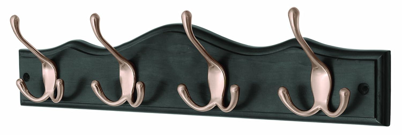 Headbourne Hr1636H Garderobenleiste mit 4 Haken an einem schwarzen Holzbrett Select Hardware