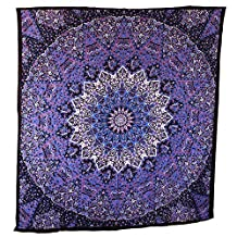 Handicrunch Hippie Mandala Tapestry Blue Purple Wall Hanging, Indian Large Table Runner Bed Cover Art, Cotton Bohemian Sheet, Decor Art Hanging