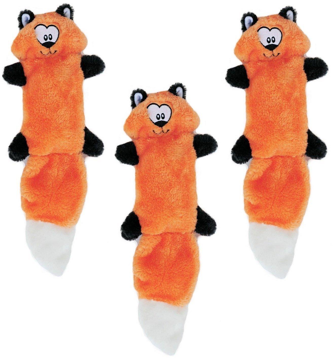 (3 Pack) ZippyPaws Zingy 3-Squeaker No Stuffing Plush Dog Toys, Fox