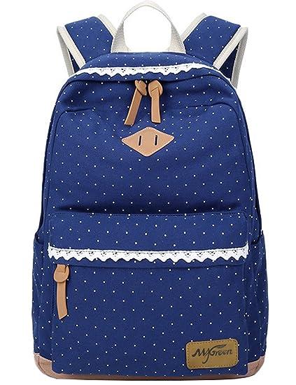 fd123f2b5c4 Mygreen Casual Style Lightweight Canvas Backpack School Bag Travel Daypack