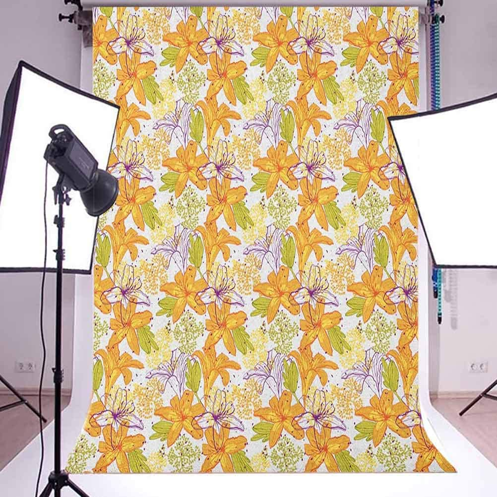7x10 FT Green Vinyl Photography Background Backdrops,Hawaiian Summer Aloha Pattern with Tropical Plants and Hibiscus Flowers Background for Graduation Prom Dance Decor Photo Booth Studio Prop Banner