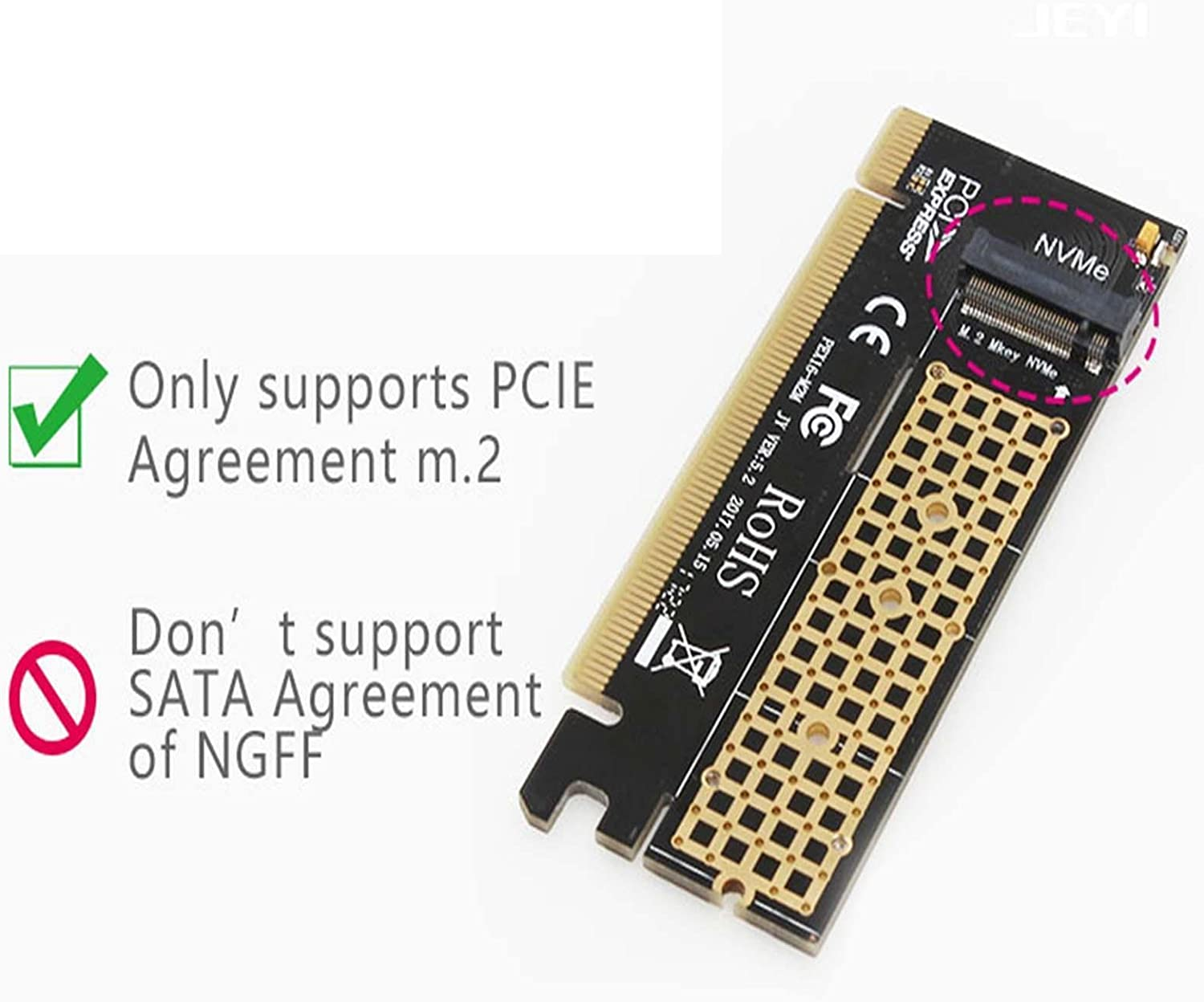 Hobbypower M.2 NVMe SSD NGFF to PCIE 3.0 X16 Adapter M Key Interface Card Full Speed