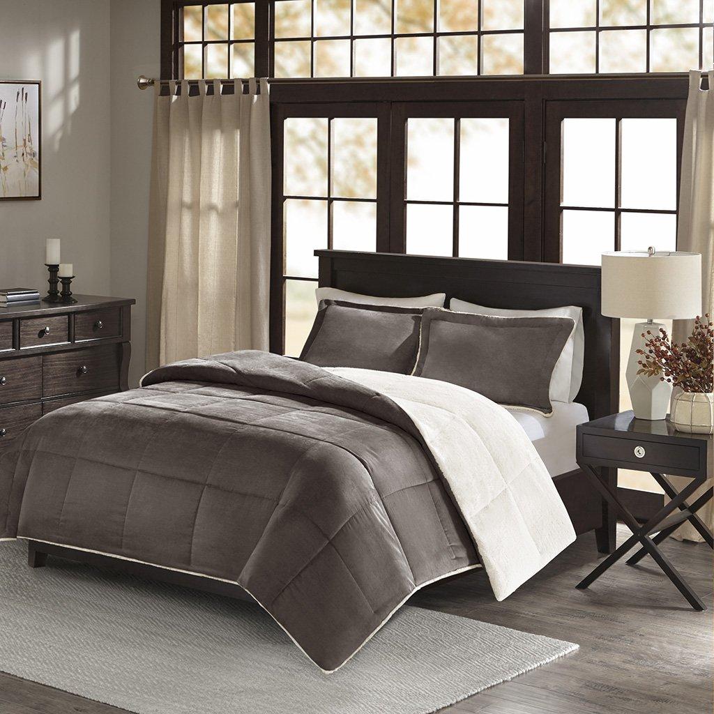 King// California King Madison Park Jackson Corduroy Reverse to Berber Comforter Mini Set Grey BASI10-0235