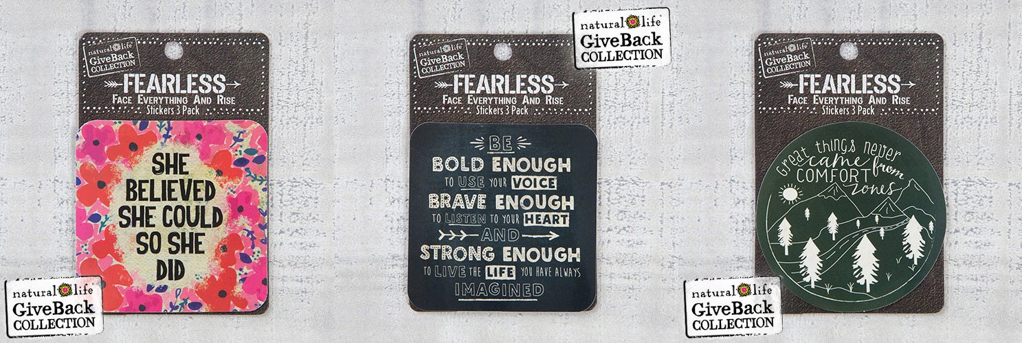 Natural Life Fearless Stickers Set, 3 of each Design (9 total stickers)