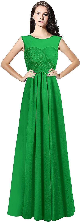 Green CladiyaDress Women Illussion Neck Long Bridesmaid Dress Evening Gowns C068LF