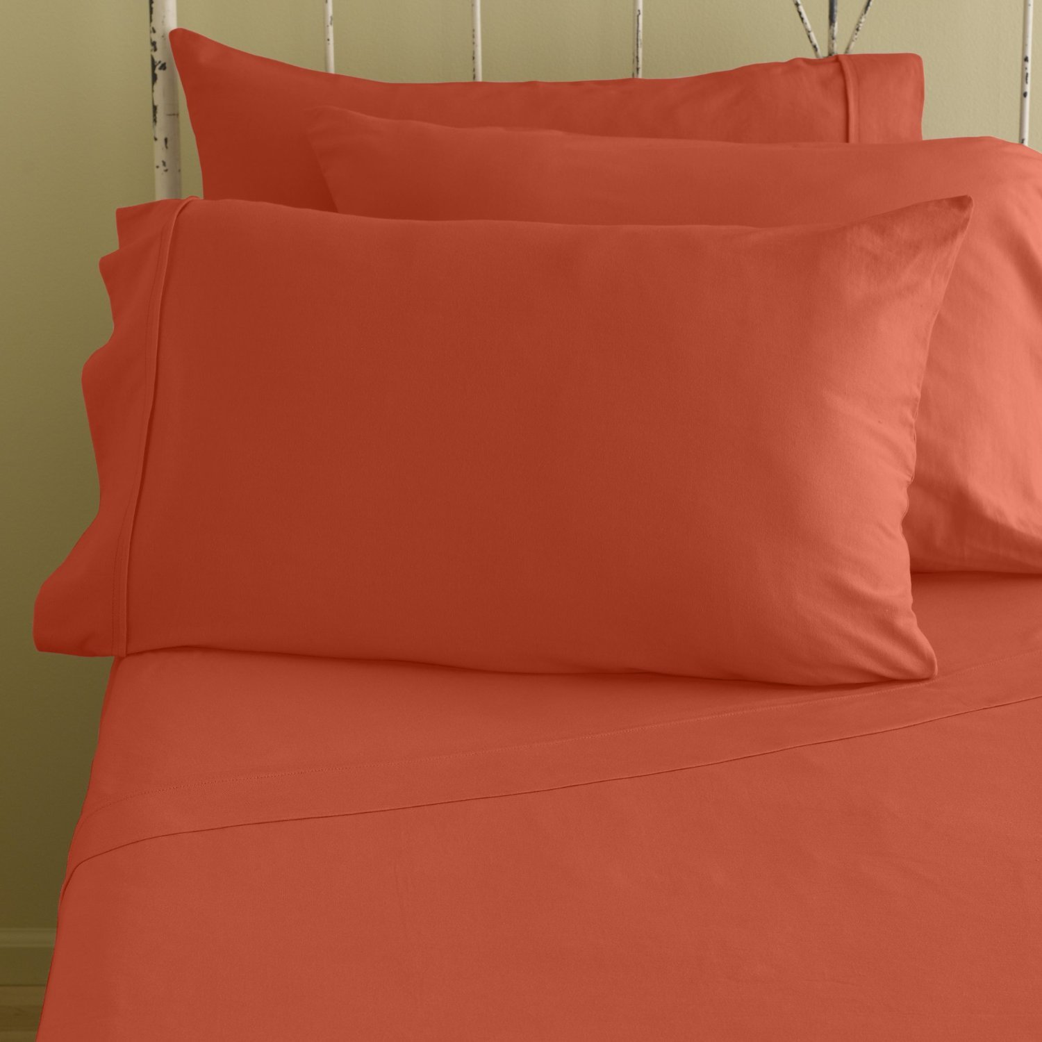 Bed Life Solid Orange - Top / Flat Sheet With Matching Pillow Cases ( Set of 3 Pack ) 500 TC Ultra Soft Sizes ( Full XL ) Made By Galaxy's Linen