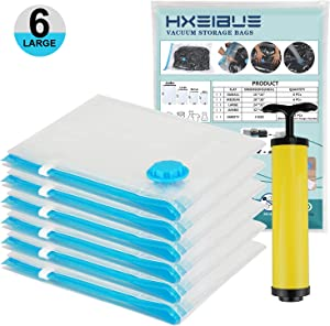 "HXEIBUE Vacuum Storage Bags Large(24""x32""), Hand Vacuum Bags with Hand-Pump for Travel, Vacuum Sealer Bags with Double Zip Locks for Garment,Pillows,Blankets,Comforters,Towel, Mattress (Large 6 Pack)"
