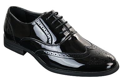 3f51ec2d581f6 Patron Scarpe Classiche da Uomo in Finta Pelle Lucida con Lacci Stile  Elegante Brogue Nero 11UK