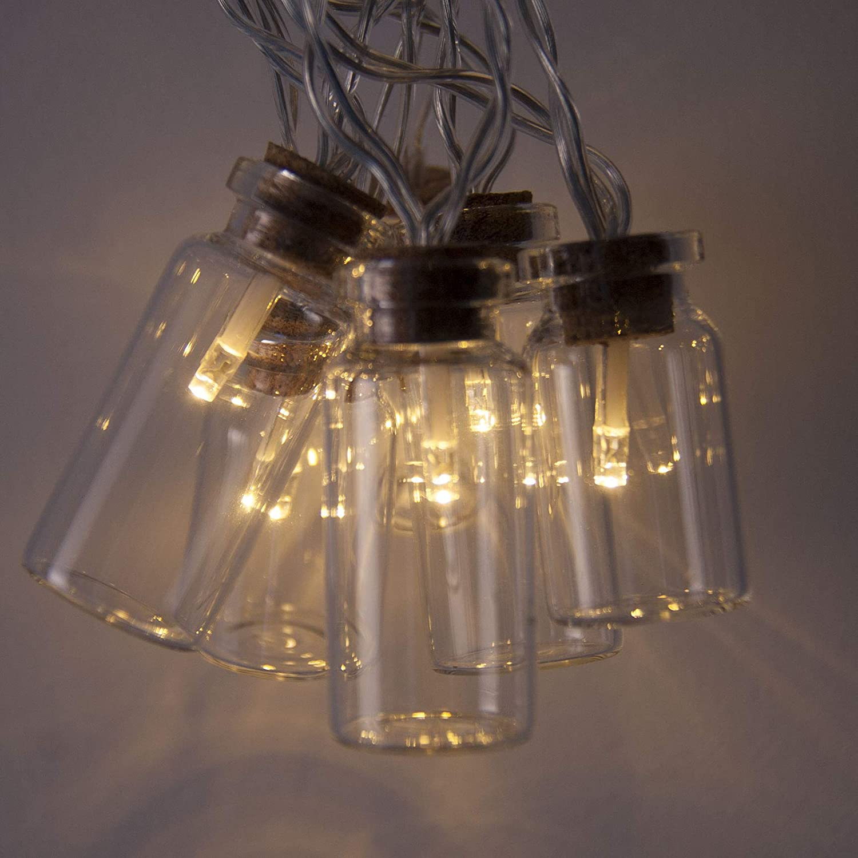 Mini guirnalda F/éerique 16 bombillas LED blanco c/álido Funcionamiento a pilas con temporizador