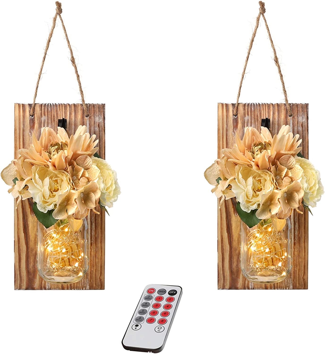 GBtroo Remote Mason Jar Decor Wall Hanging - Country Farmhouse Vintage Wall Art Decor with Wireless Remote, LED Fairy Lights 6-Hour Timer with Rose Flowers Home Decoration (Set of 2) Large,Brown