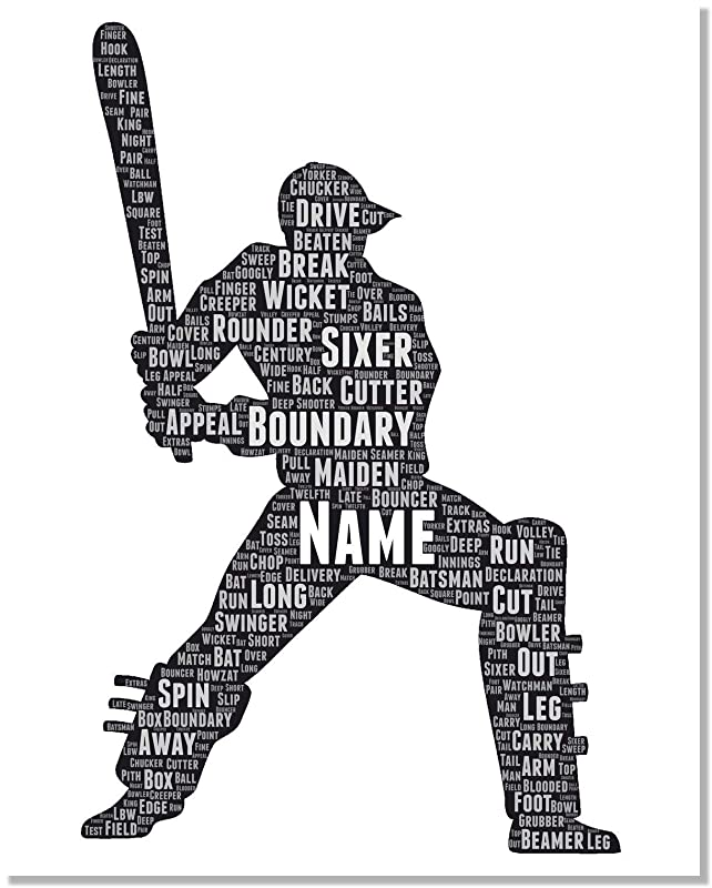 Cricket Gifts for Men, Personalized Cricket Batsman poster gifts for him, Birthday Gifts, Word Art Typography Cricket ICC lover Player Man Custom Print for Boys Room Decor…