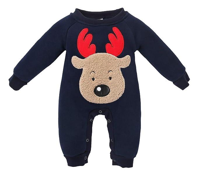 07f19796005f Amazon.com  doublebabyjoy Baby Girl Boy Deer Sewing Christmas Romper ...