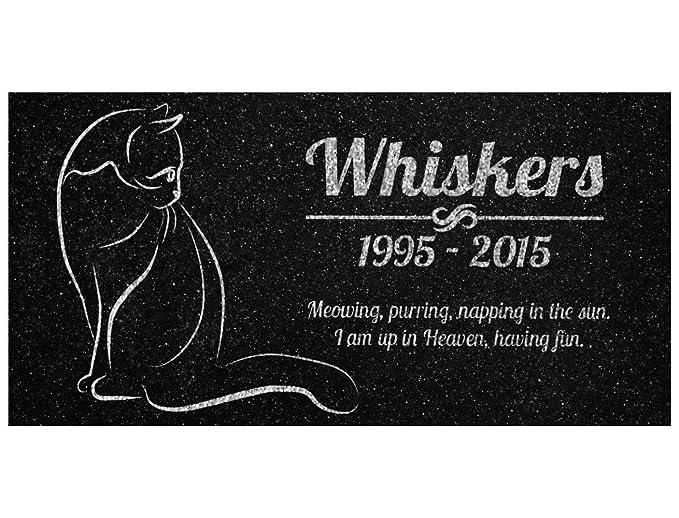 Cat Memorial Personalized Black Granite Stone 12 X 6 Bereavement in Memory Loss of Pet Cat Garden Stone