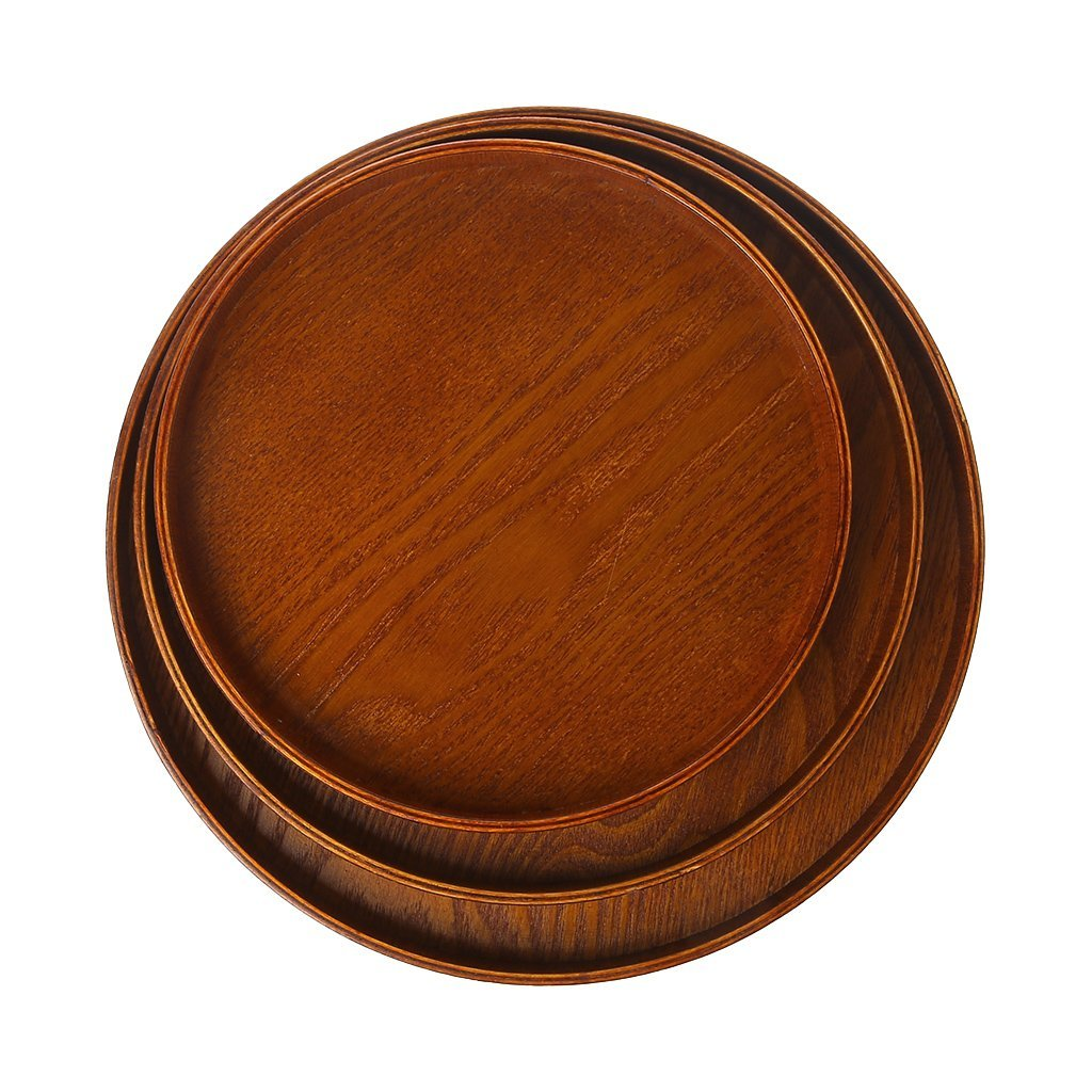 yaonow Wooden Round Plates,Cheese Plates Coffee Tea Serving Tray ...