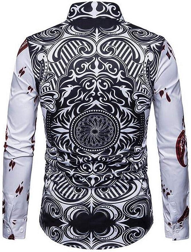 Fubotevic Men Casual Shirts Polka Dot Printed Long Sleeve Button Down Dress Shirt Top