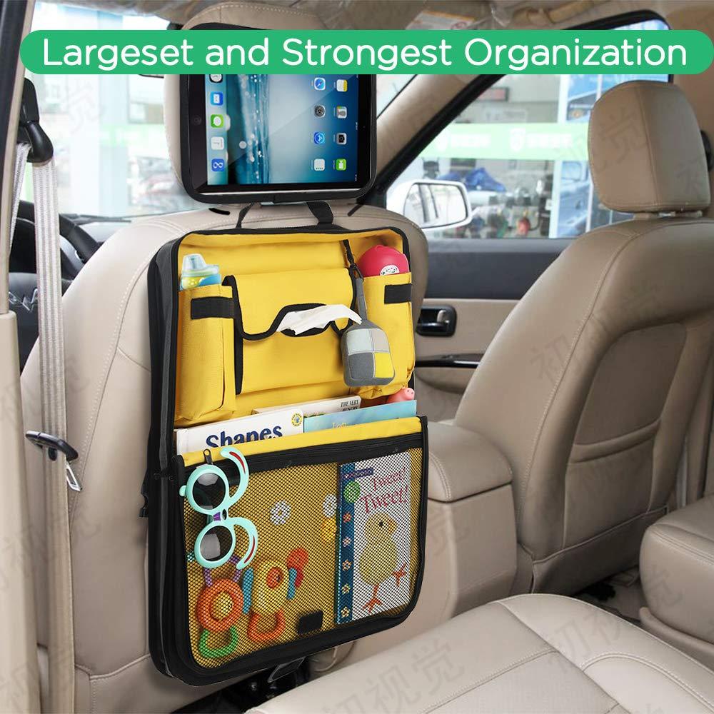 soporte para tabletas Parenthings Organizador para el asiento trasero del coche para ni/ños: dise/ño original bolsillo con abertura para pa/ñuelos 2 bolsillos para tazas y botellas tejido de calidad
