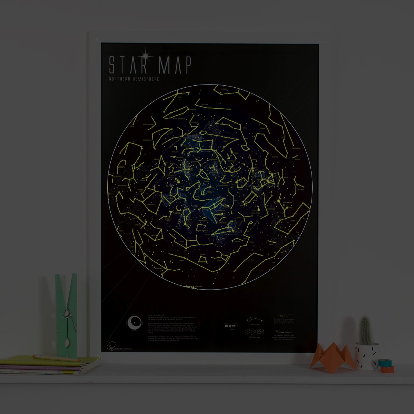Glow In The Dark Star Map Poster Constellations Are Illuminated At - Night sky map northern hemisphere