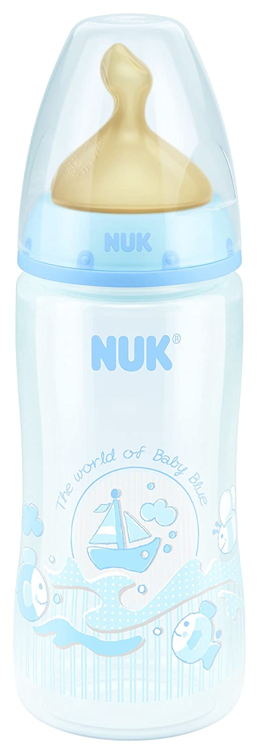 NUK First Choice +–Wide Neck Latex bottle, Size M, 300ml Baby's Bottle blue Tigex