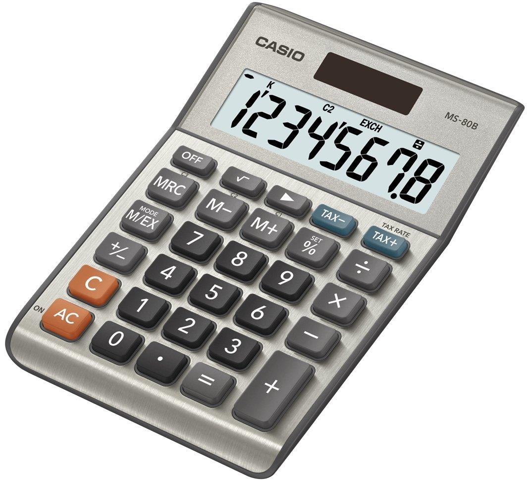 color plateado Calculadora de mesa Casio MS-80B 8 cifras, calcula cambio de divisa, funci/ón de ra/íz cuadrada, modelo posterior a MS-80S