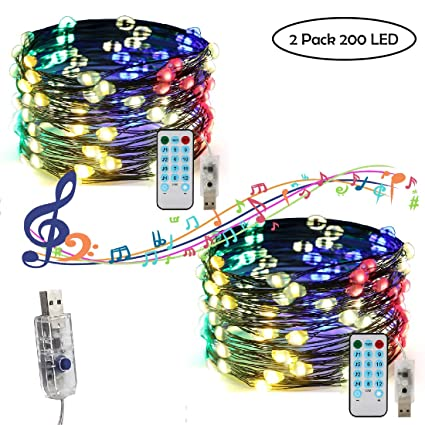 Pxb 2 Pack Led String Lights Sound Activated Multi Color Fairy Lights 12 Modes 33ft 100 Led Usb Operated Copper Wire Lights With Remote Control