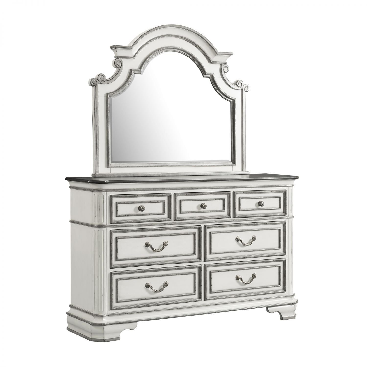 Amazon Com Picket House Furnishings Caroline 7 Drawer Dresser And Mirror Set Kitchen Dining