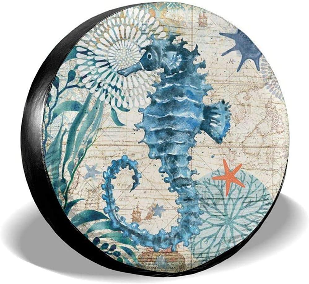Zseeda Cubierta de neumático de Rueda de Repuesto Universal de poliéster Potable Cubiertas de Rueda de Caballo de mar Viejo océano para Accesorios de Remolque de Viaje de camión SUV de RV