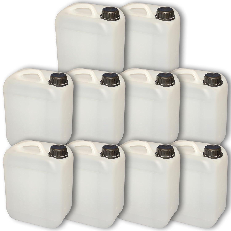 Lote de 10 bidones de polietileno //Jerry can 5 L natural HDPE apertura DIN45 calidad alimentaria 10x22004