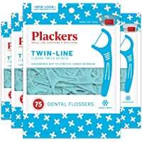 Plackers 4-Pack of 75 Count Twin-Line Dental Floss Picks