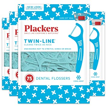 Plackers Twin-Line Dental Floss Picks, 75 Floss Picks Blue 2 Packages 300 Count (Pack of 4)