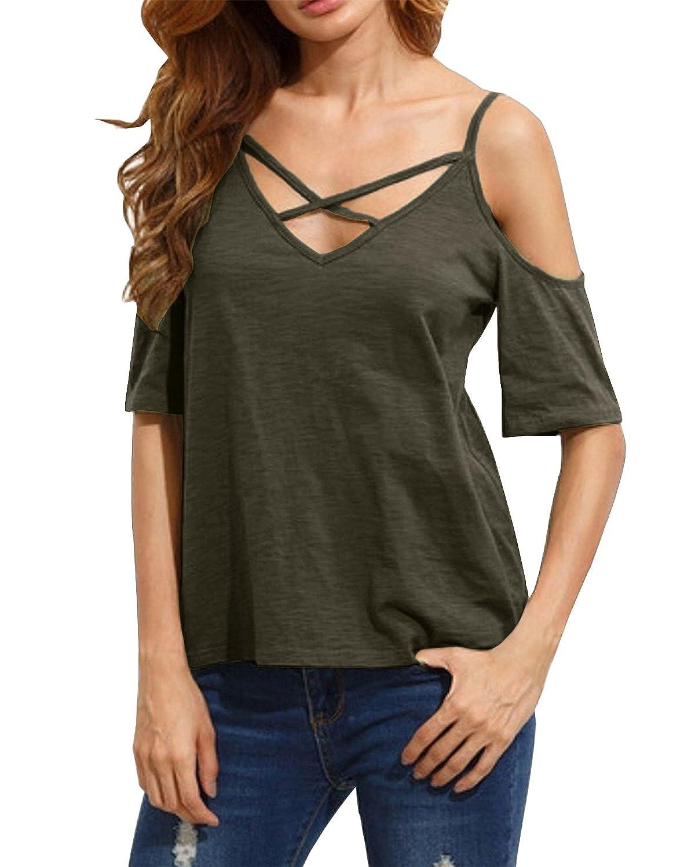 StyleDome Mujer Camiseta Mangas Cortas Blusa Algodón Playa Hombros Descubiertos Elegante